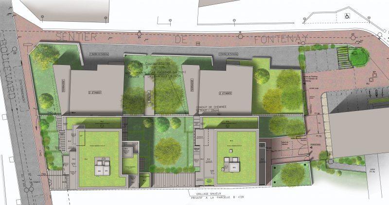 Plan des toitures. La construction reprend les volumes voisins.